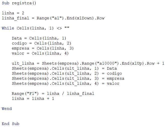 Código em VBA - Separar dados