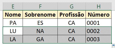 Tabela Base para códigos
