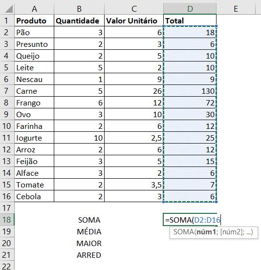 Fórmulas Básicas - SOMA