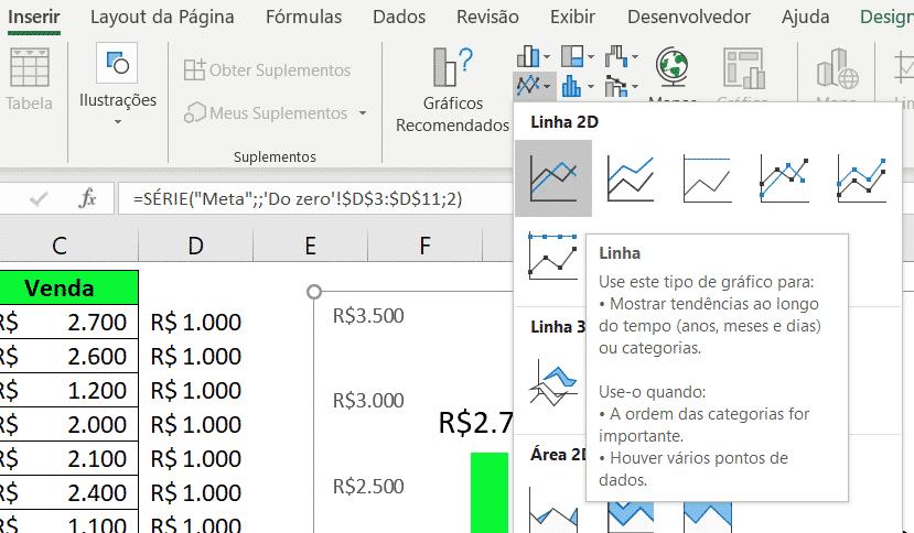 Gráficos de linha no Excel