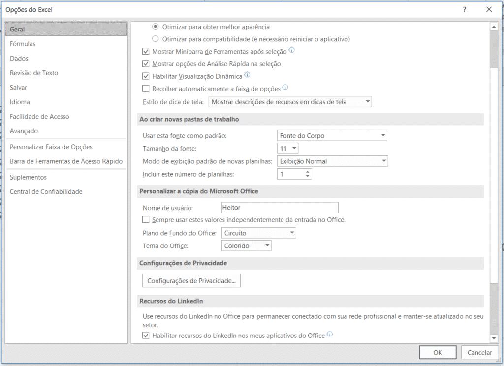 Opções do Excel