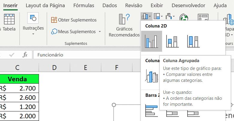 Gráficos de Colunas no Excel