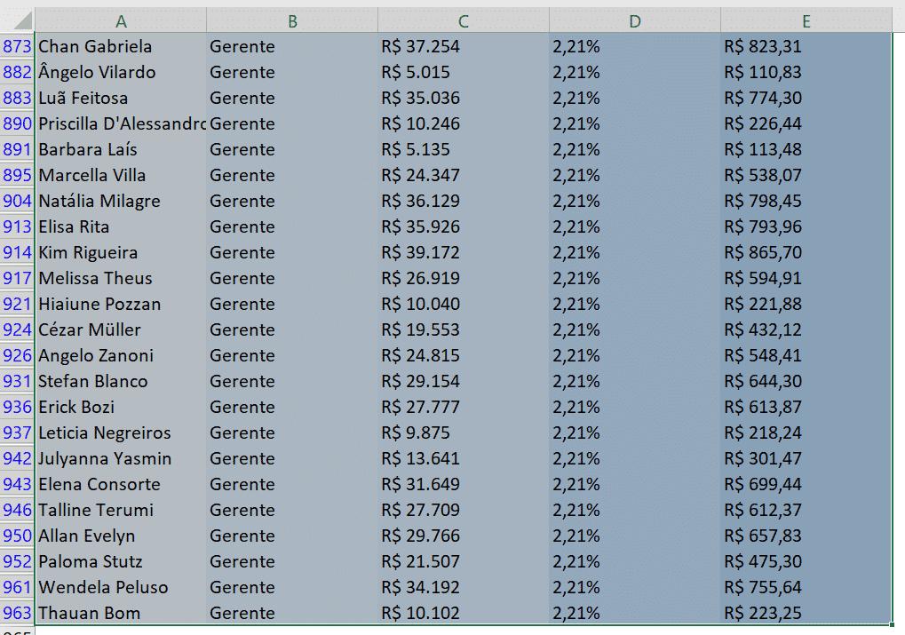 Seleção de toda a tabela utilizando atalhos