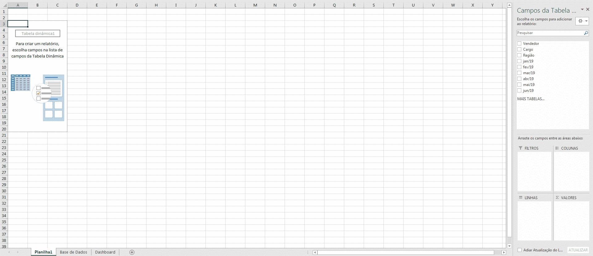 Planilha inicial após a criação da Tabela Dinâmica