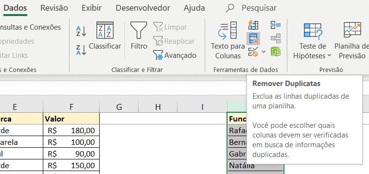 Utilizando a opção de remover duplicatas