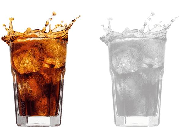 Comparação das duas imagens (original e com a cor alterada)
