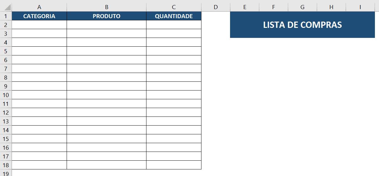 Tabela inicial para criar a validação de dados