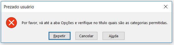 Mensagem de erro modificada pelo usuário