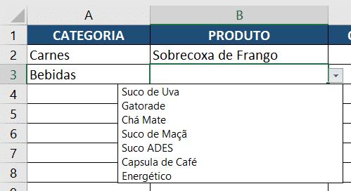 Resultado da segunda validação de dados para bebidas