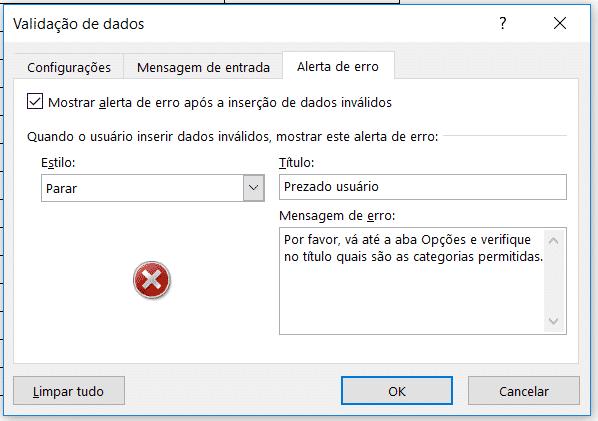 Alteração da mensagem de erro