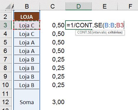 Utilizando a fórmula CONT.SE para fazer o cálculo automático da coluna C