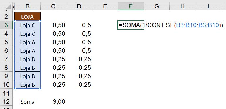 Fórmula para efetuar a contagem dos valores únicos utilizando os dados anteriores