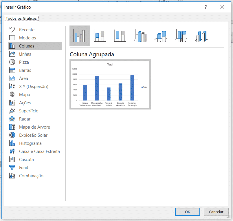 Selecionando o tipo de gráfico a ser utilizado