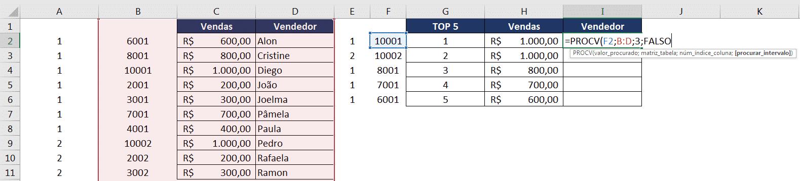 Utilização da fórmula PROCV utilizando os dados auxiliares