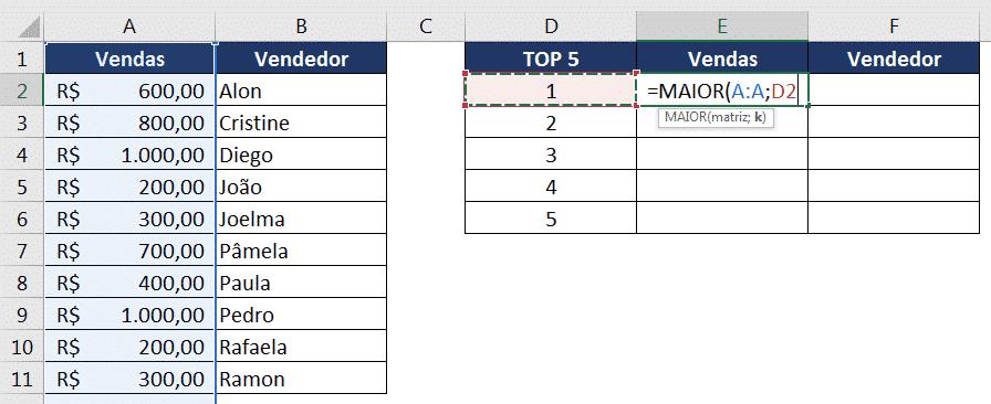 Inserção da fórmula MAIOR para obter o valor das vendas