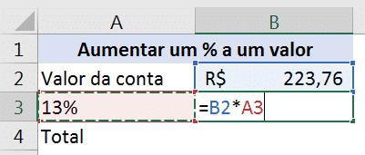 Fórmula para calcular o percentual