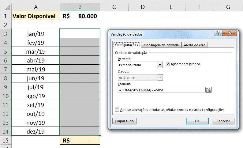 Fórmula personalizada para a validação de dados com um valor limite