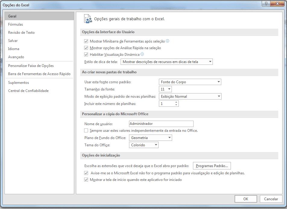Janela de opções do Excel
