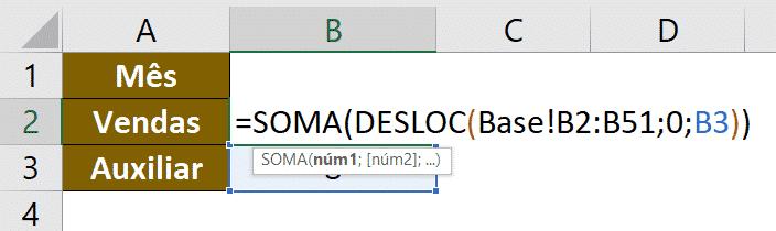 Fórmula de SOMA com DESLOC para obter a soma do mês selecionado