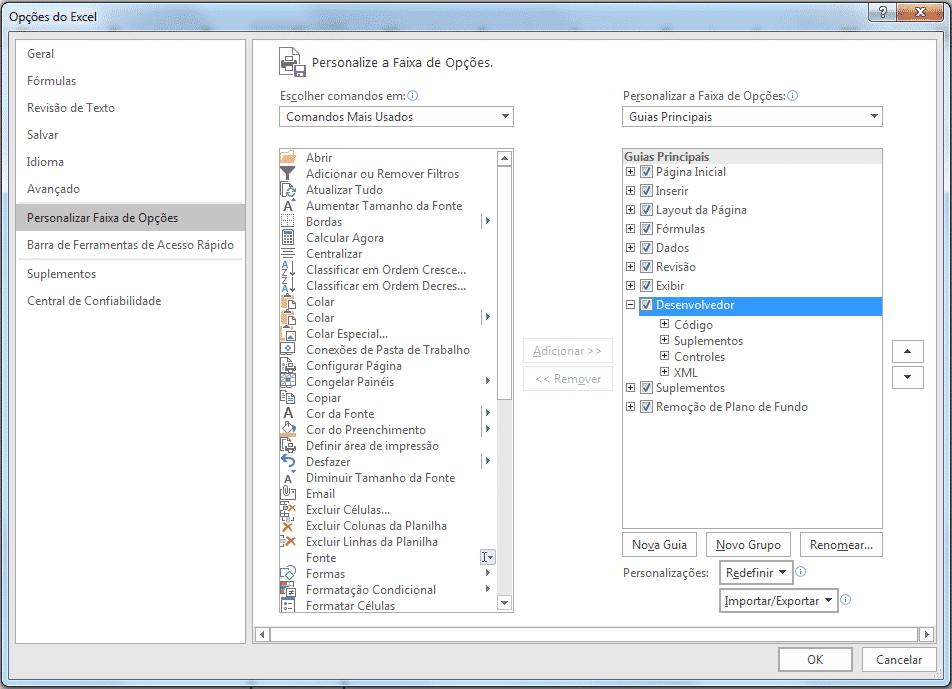 Menu de opções para habilitar a guia Desenvolvedor