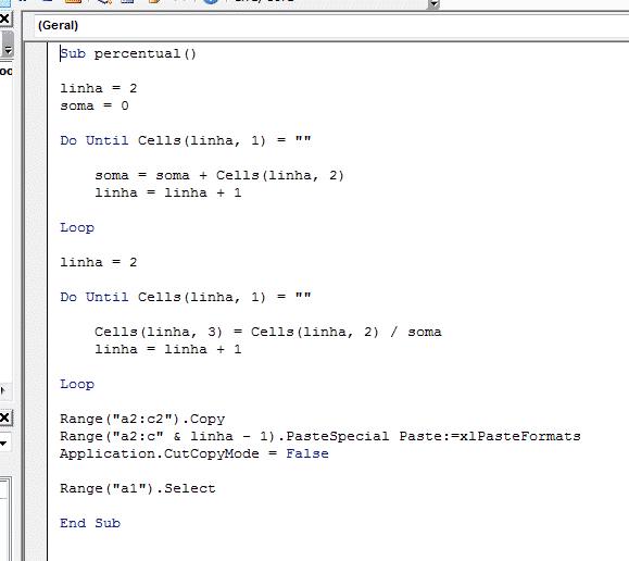 Abrindo o ambiente VBA com o código já escrito