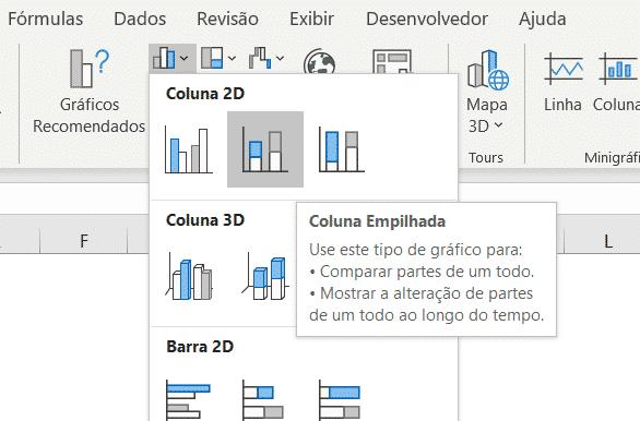 Opção do gráfico de coluna empilhada