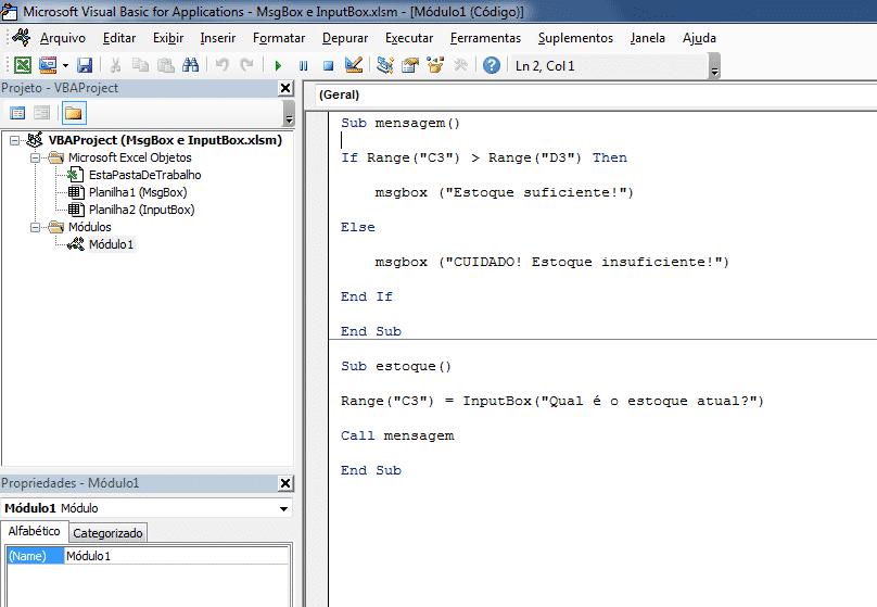 Abertura do ambiente com MsgBox VBA