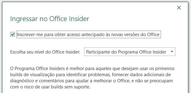 Janela para ingressar no Office Insider