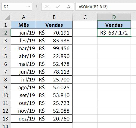 Utilização da fórmula soma selecioando um intervalo - Erros Comuns no Excel