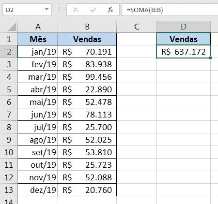 Fórmula de soma selecionando toda a coluna