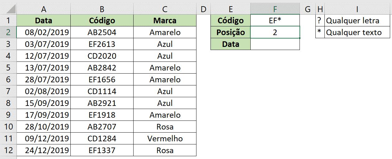 Resultado utilizando a opção coringa do modo correspondência