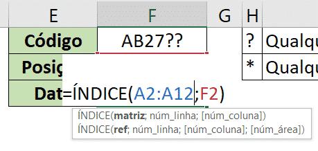 Fórmula ÍNDICE já preenchida com os argumentos
