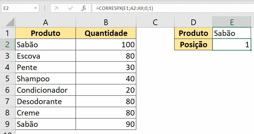 Resultado da fórmula CORRESPX