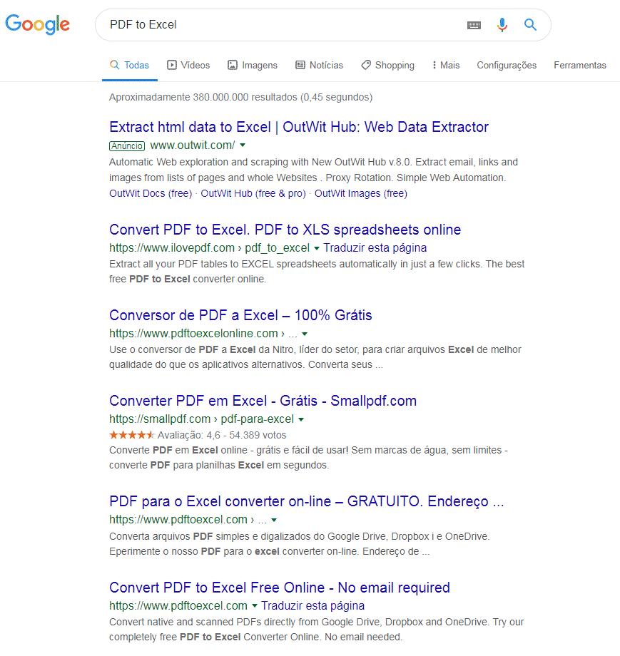 Procura no navegador para conversão de PDF para Excel