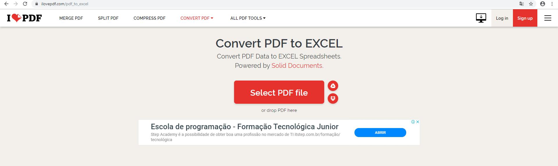 Site para a conversão de arquivo PDF para Excel