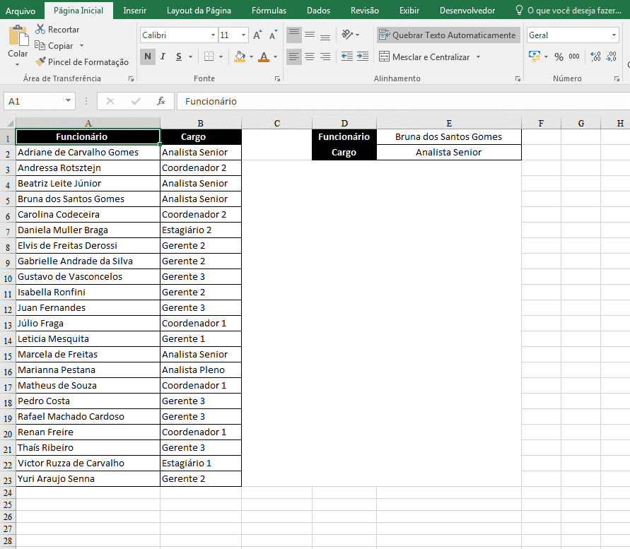 Arquivo em Excel após converter pdf em excel