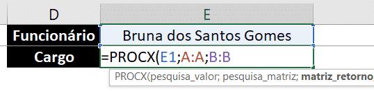 Fórmula PROCX para busca vertical de cargo