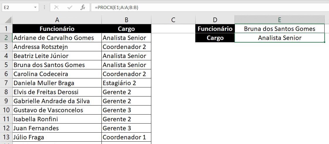 Resultado da fórmula PROCX, busca vertical