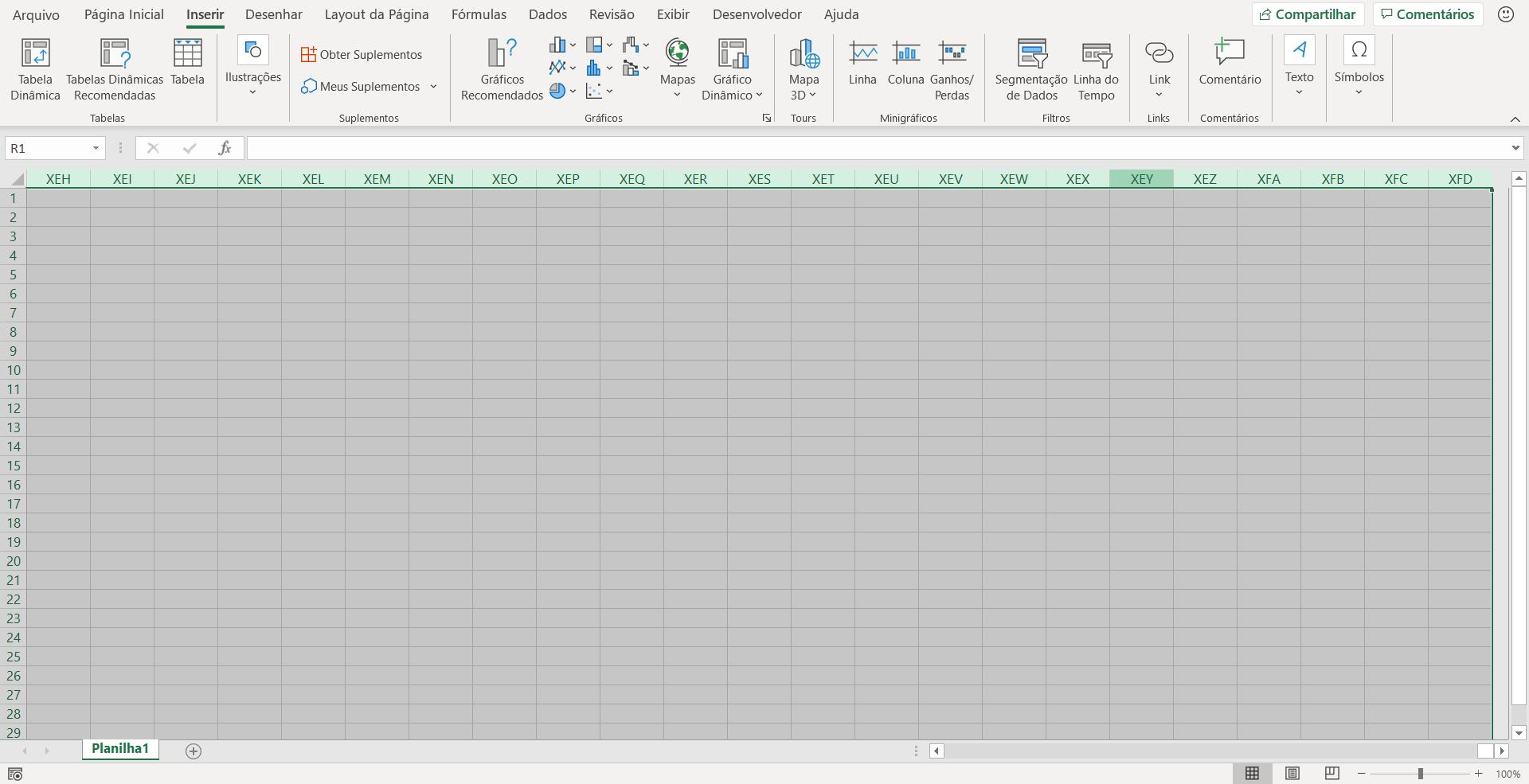 Seleção das colunas a partir da coluna R da Planilha Excel
