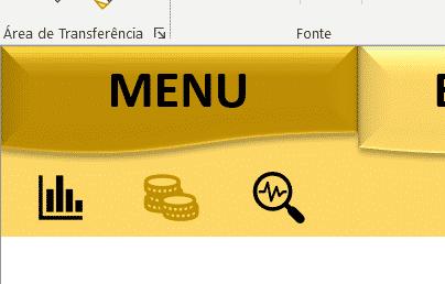 Aba menu 2 com o segundo ícone em realce
