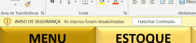 Aviso para habilitar as macros dentro da planilha Excel