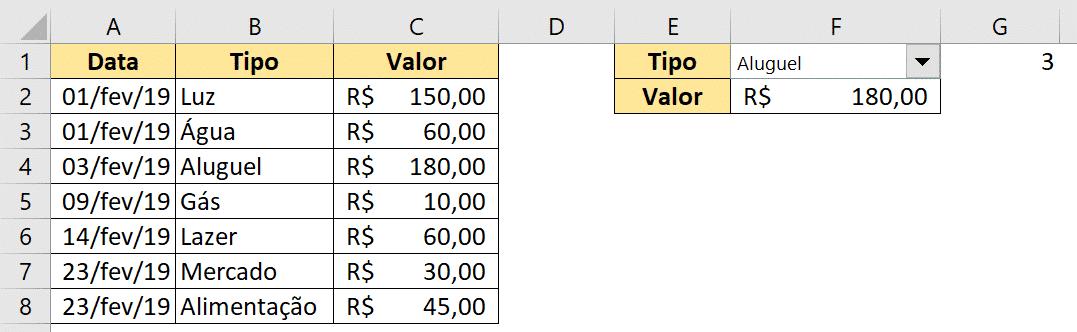 Resultado da fórmula ÍNDICE