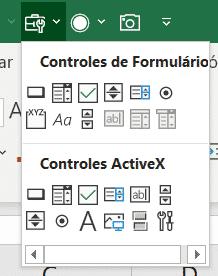 Menu de controles que foi adicionado - Controles de Formulário