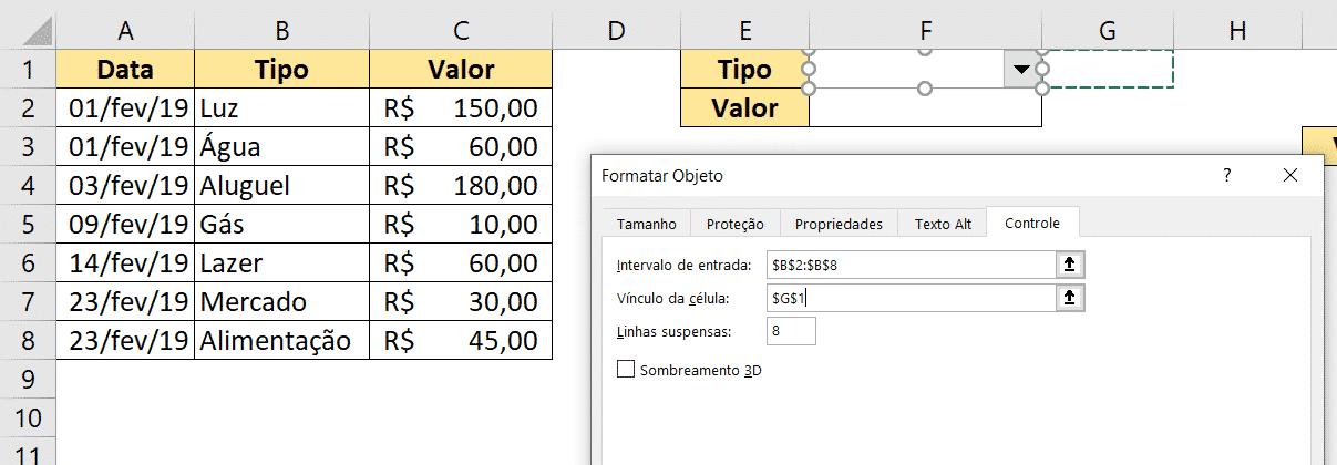 Alterando o intervalo e vínculo da Caixa de Combinação