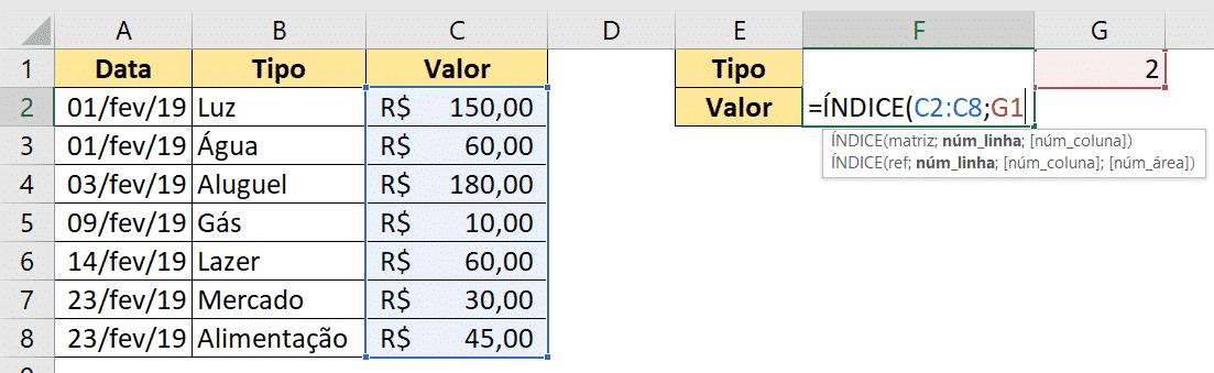 Utilizando a fórmula ÍNDICE para obter o valor da despesa selecionada