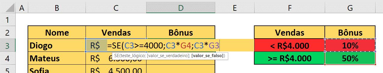 Fórmula para o cálculo do bônus