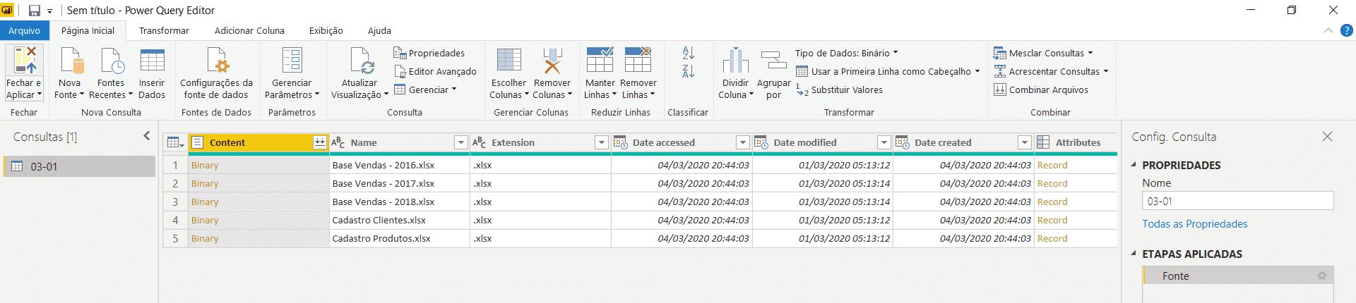 Arquivos importados para o ambiente do Power Query