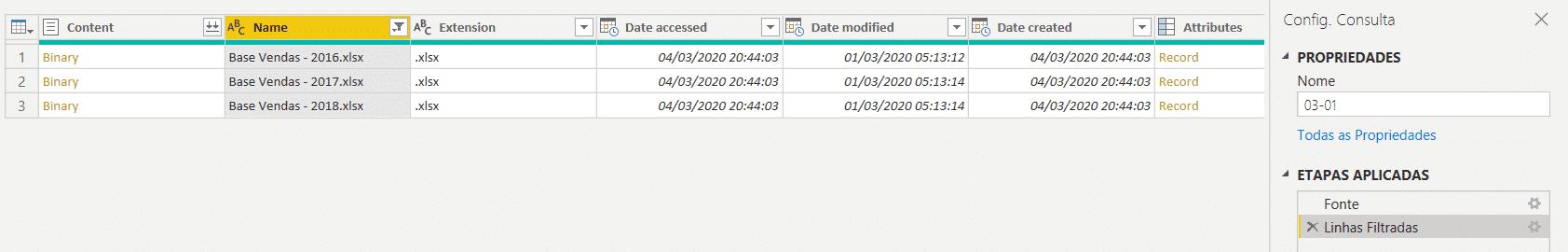 Arquivos filtrados e ação gravada pelo programa