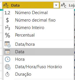 Alterando o formato para Data