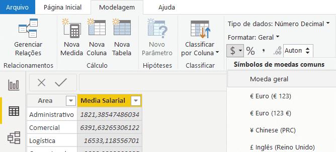 Alterando a formatação para Moeda Geral - Agrupar dados no Power Query